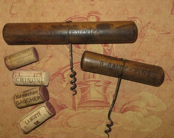 Two Old French Advertising Corkscrews...Tire Bouchon