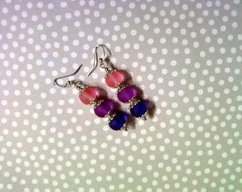 Pink, Fuschia and Purple Earrings (2145)
