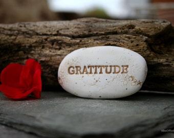 gratitude inspirational message stone, unique ooak gift momentos, affirmation pocket stones