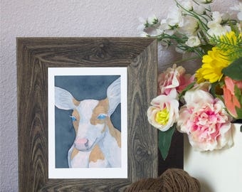 "Watercolor Art Print ""Demure"" - Piebald Deer"