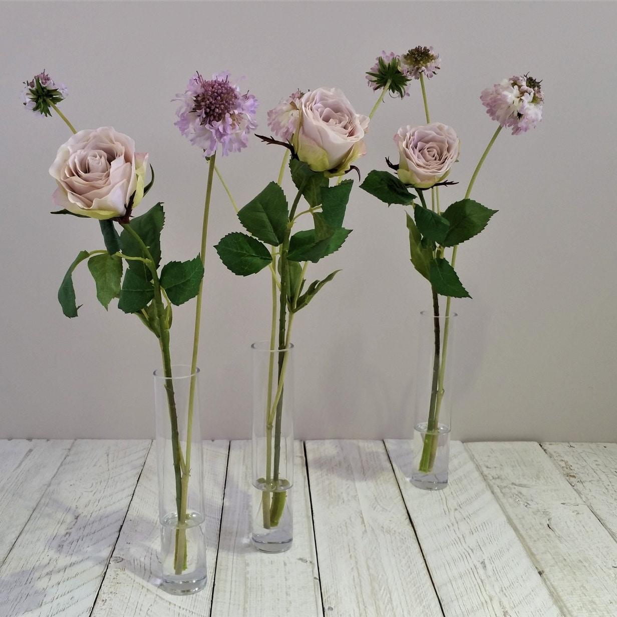 Purple silk rose faux lilac rose silk flower arrangement tall description mothers day gift purple lilac silk rose flower arrangement in tall glass vase reviewsmspy