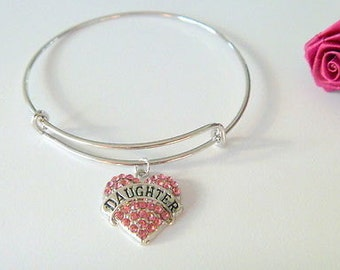 Pink Crystal Studded Daughter Charm Expandable Bangle Bracelet