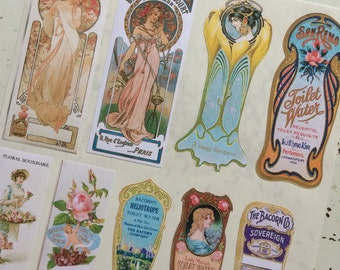 Vintage Perfume Labels Stickers in Tall Bottle Labels