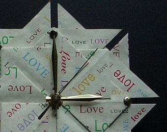 Great Valentine's Day Gift For Him Or Her -  Origami Clock - Rainbow