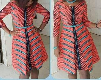 A682 6yd Peach/ Blue Zip  African Fabric/ African Wax print/ Ankara for Sewing Dress/ art craft/ African home decor/ Quilting/ upholstery