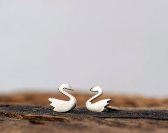 Extra Tiny Swan Earrings Solid Gold Studs 14k Animal Jewelry minimal earrings dainty studs holiday Christmas Sale Teen Kids Mom rose gold
