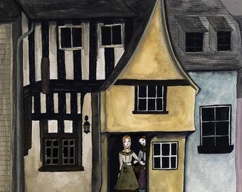 Village Life Original Watercolor Illustration