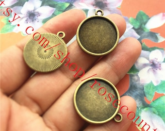 wholesale 100pcs antiqued bronze 18mm(inner size) round bezel trays pendant findings