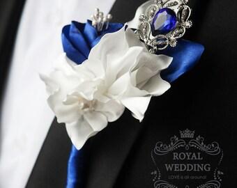 Wedding Boutonniere Buttonhole Boutonnieres Wedding Grooms Boutonniere Fabric Boutonniere Blue Boutonniere Silver Boutonniere