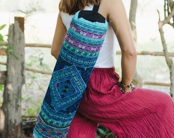 Ethnic Yoga Mat Bag with Diamond Hmong Hill Tribe Embroidered in Blue, Handcrafred Fair Trade Yoga Mat Bag for Yogi - BG316BLUDIA