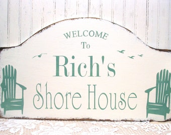 Personalized shore house sign, custom beach cottage sign, Jersey shore sign, beach bungalow, rustic beach sign