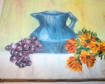 Sweet Little Painting Floral Fruit with Pitcher 7x5 Canvas on Wood Frame Vintage Painting