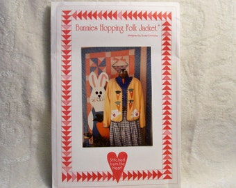 Folk Jacket Pattern - Bunnies Hopping Folk Jacket Designed By Susie Emmons - Stitched From The Heart