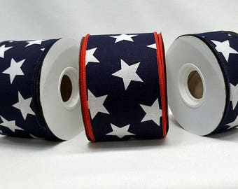 """1.5"""" or 2.5"""" Wired Canvas Patriotic Stars Ribbon ~ American Flag White Stars on Blue Canvas Ribbon ~  Home Decor / Craft Ribbon ~ 3 Yards"""
