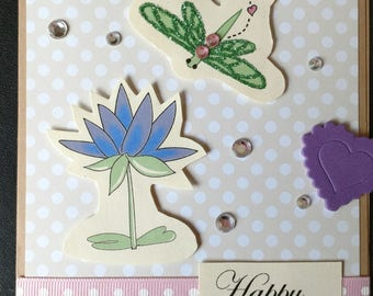 Happy Birthday Card with a Dragonfly, Dragonfly Birthday Card, Birthday Card, Dragonfly