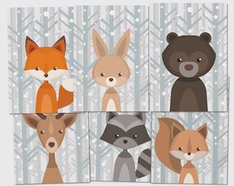 Forest animals Set-postcard folding card