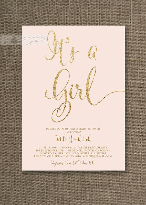 Best Blush Pink & Gold Baby Shower Invitation It's a Girl SV98