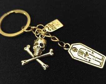 DEATH SKULL COFFIN R.I.P Gothic Silver Metal Charm Keychain Key Ring Unique Gift
