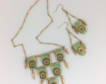 Cleopatra Style Necklace and Earrings Made from Vintage Tin, Assemblage Jewelry