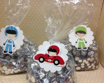 Racecar Party Favor Bags with Tags - Set of 10