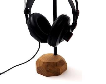 Headphone stand - headset stand, wooden headphone holder, headphone hanger, Wood Gift For Him Tech Audio Set Audiphile