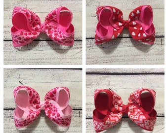Valentine Hair Bow ,Valentine Boutique Hair Bow ,Girls Boutique Hair Bow ,Red Valentine Hair Bow ,Pink Valentine Hair Bow ,Valentine