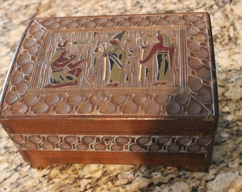 Vintage Carved Egyptian Carved Jewelry Minori Orgel Music Box