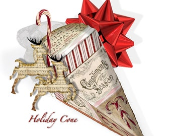 christmas printable holiday gift wrap victorian cone  DIY goodies holder or tree ornament