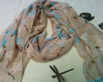 Dragonfly and Beige Scarf/Dragonfly European Scarf/Dragonfly Summer Scarf/Dragonfly Evening Scarf/Gift Scarf