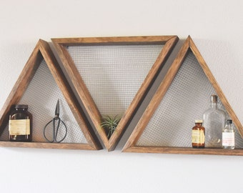 Beau Set Of Three Geometric Wall Art, Shelf, Geometric Home Decor, Wall Hanging,