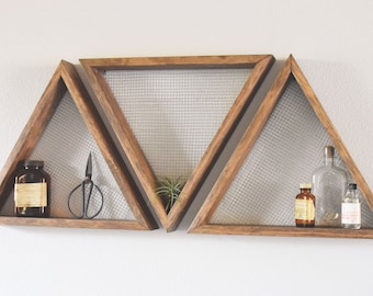 Set Of Three Geometric Wall Art, Shelf, Geometric Home Decor, Wall Hanging,  Wall Shelf, Reclaimed Wood, Modern, Industrial, Rustic,