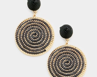 Swirl Thread Wrapped Disc Dangle Earrings - Gold/Black