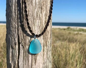 Caribbean Blue Sea Glass Nugget Necklace Tumbled by Wave of Life