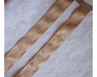 Vintage Blush Pink Satin Ribbon with METALLIC GOLD Art DECO Design