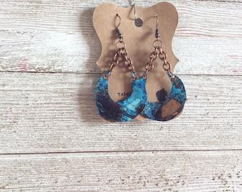 Copper Patina Earrings,  Crescent Moon Earrings, Bono Earrings