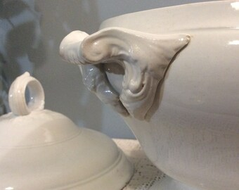 Antique ONNAING, French White Ironstone Tureen, Large Antique Tureen with Lid, Large White Soupierre