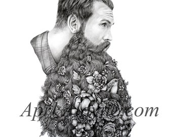 Flower Beard- This beard is for you - Illustration- 8 X10-signed print-man- portrait- botanical- father