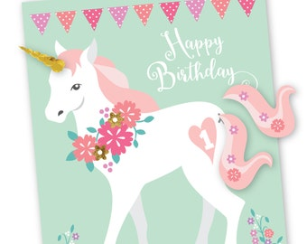 Pin the tail & horn on the Unicorn- party game / DIY party game / Mint, pink and gold glitter unicorn, girls birthday party