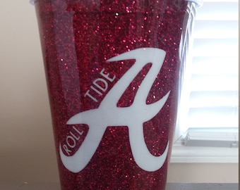 Alabama red glitter plastic tumbler