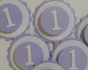 1st Birthday Cupcake Toppers - Lilac and White - Girl Birthday Party Decorations - Set of 6