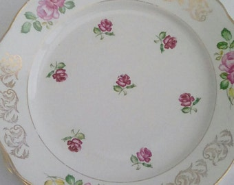 French vintage faïence serving dish, Luneville roses design, pink and gold.