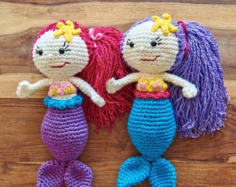 Mermaid Crochet Doll - Large Mermaid Plush toy- 38cm (15 inches) - Choose your own colours- Nursery Decor- Mermaid Nursery