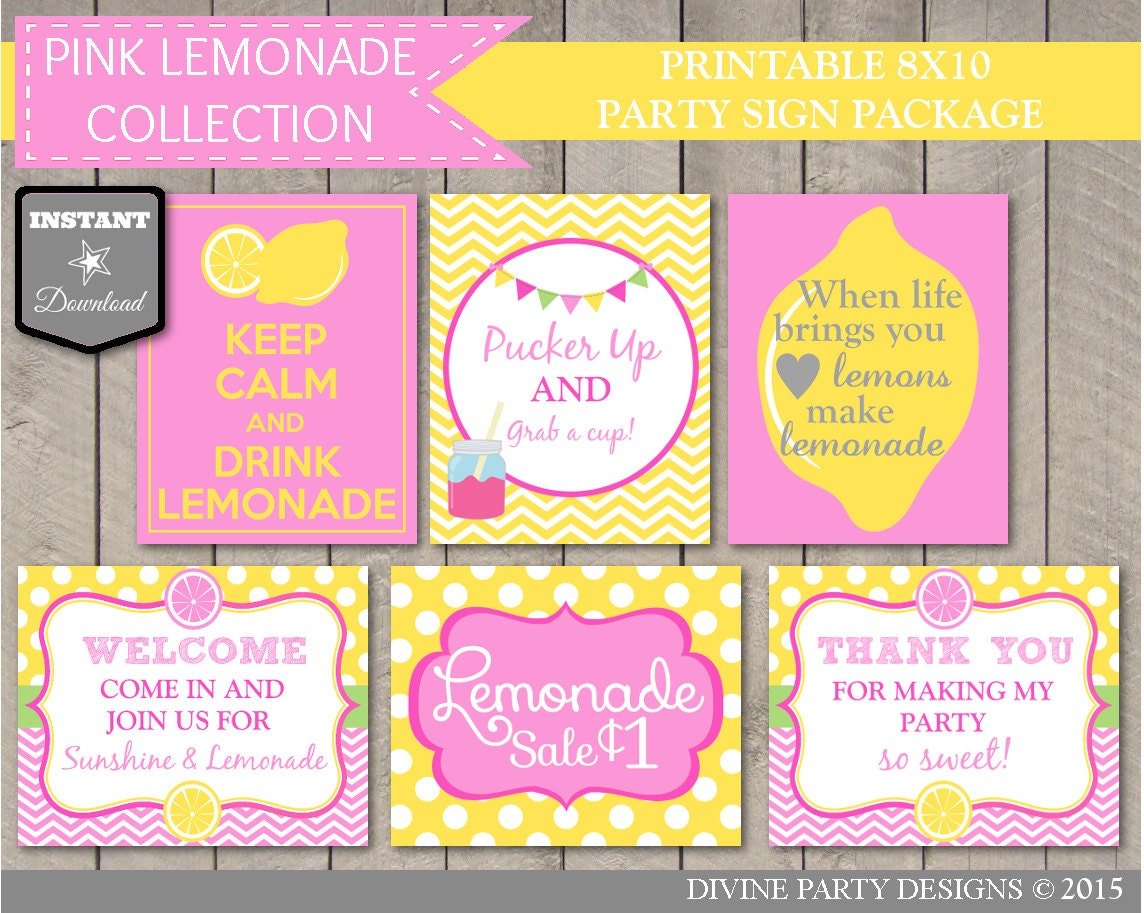 INSTANT DOWNLOAD Printable Pink Lemonade Party 8x10 Sign