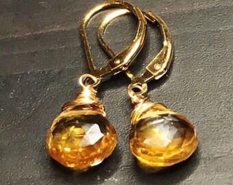 Petite Yellow Citrine Earrings. Natural Citrine grmstone dangles. Golden drops. 14k gold fill. Bridal jewelry. November birthday birthstone