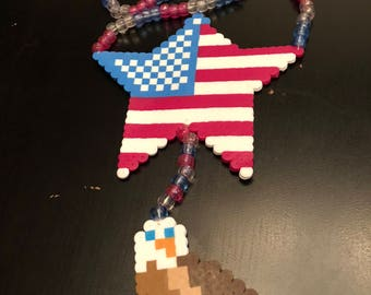 Kandi Murica Flag Star Eagle Necklace