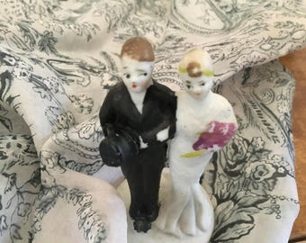 Sale! Vintage Antique 1920's Wedding Cake Topper Charming Japan