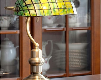 Piano Lamp, Library Lamp, Piano Light, Stained Glass Lamp, Table Lamp, Office Lamp, Office Decor, Table Decor, Green Lamp Shade