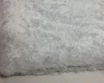 Faux Fake White Curly Fur Fabric Teddy Bear & Animal Toy 15mm Pile Sold by Vary Length