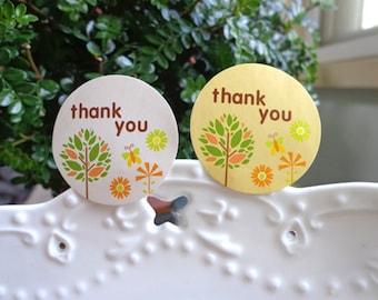 Thank You Sticker Round Floral Seal Label Gift Wrap Wedding Shop Craft