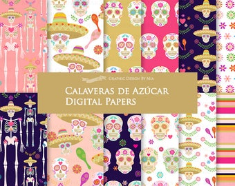 Sugar Skull / Calaveras de Azúcar Digital Paper Pack - Instant Download - DP178